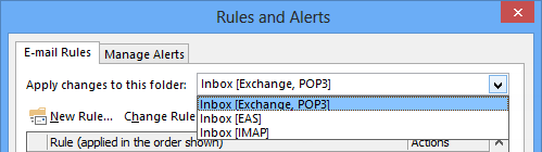 Rules and Alerts - Rules for the main Exchange account and POP3 accounts are grouped together.