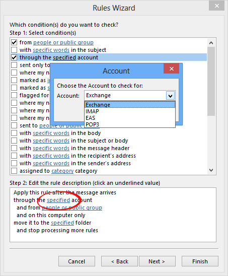 "Rules Wizard - After selecting the ""through the specified account"" condition, click on the ""specified"" link in the bottom section to bring up the account selection dialog."