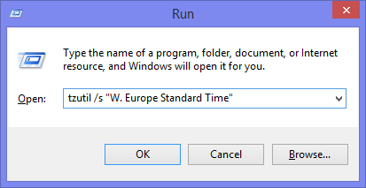 Changing the time zone via tzutil in a Run command.