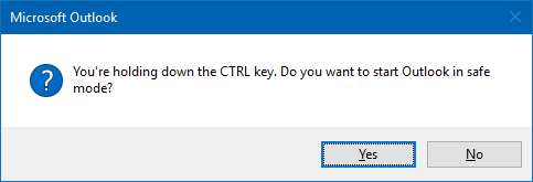 You're holding down the CTRL key. Do you want to start Outlook in safe mode?