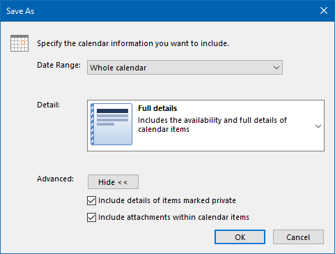 Calendar Save As ics-file - Whole Calendar - Full details - Include details of items marked private - Include attachments within calendar items