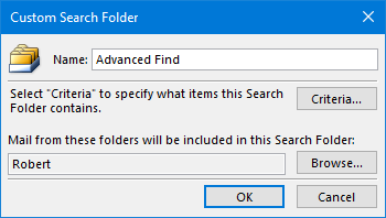 Custom Search Folder - Advanced Find