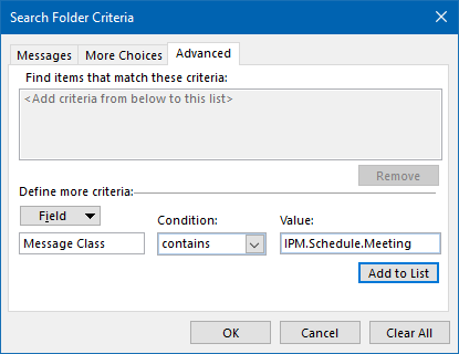 Add Search Folder criteria to find all Meeting messages.