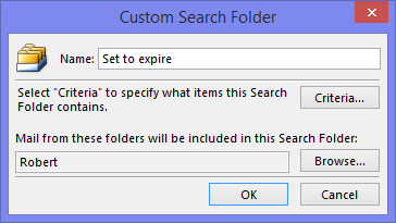 Custom Search Folder - Set to expire