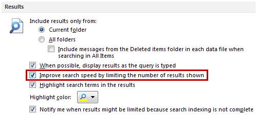 Search Options - Results - Improve search speed by limiting the number of results shown