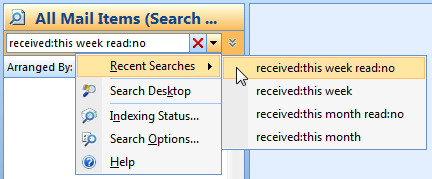 Recent Searches list in Outlook 2007