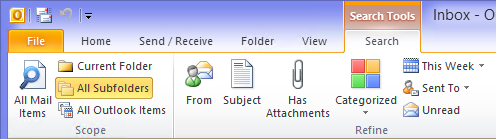 "Outlook 2010 added the much requested ""All subfolders"" option to Instant Search."