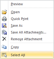 Select All Attachments right click option in Outlook 2010.