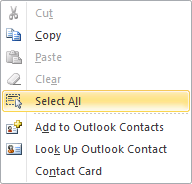 Select All Contacts right click option in Outlook 2010.