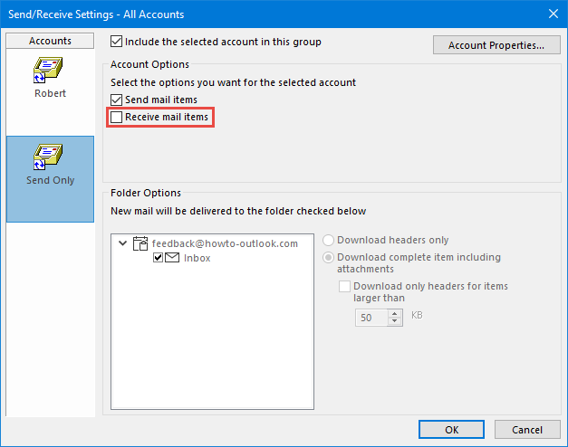 Exclude account from receiving (send only account