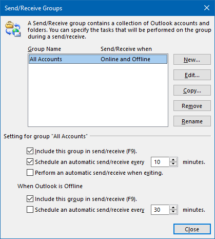 Check for new emails frequency setting in Outlook 2010