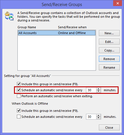 Send/Receive Groups - Schedule an automatic send/receive every 30 minutes.
