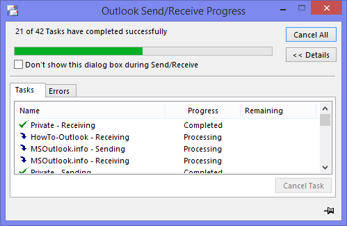 Outlook Send/Receive Progress dialog with a backlog of 21 tasks.