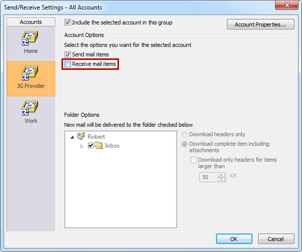 Exclude an outlook email account from receiving/sending