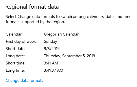 Time and date format configuration in Windows 10.