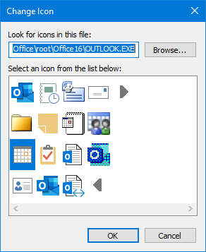 Select a different icon for your custom Outlook shortcut.