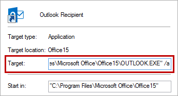 Creating a custom shortcut with the command line to create a new Outlook e-mail with the current files as an attachment. (click on the image to view the entire dialog window)