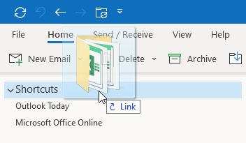 Adding a link to the Shortcuts Navigation via drag & drop from File Explorer.