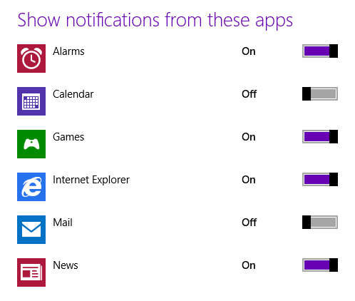Show notifications from these apps - Mail and Calendar turned off