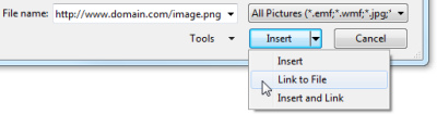 "Use ""Link to File"" to insert an Internet image in Outlook 2007 and Outlook 2010 (click on image to enlarge)"
