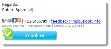 Example of a signature with social media links and Skype status indicator.