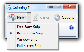 The Windows Snipping Tool offers 4 different ways to create a screenshot.