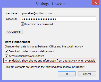 Social Connector Provider setting LinkedIn - By default, show photos and information from this network when available