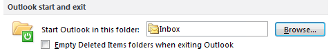 Changing the startup folder in Outlook 2010