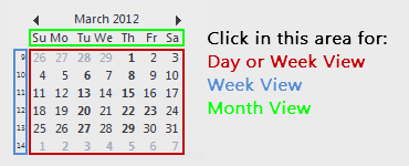 Clicking in a specific area of the Date Navigator will determine if it will take you to the Day, Week or Month view.