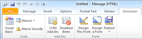 The Developer tab, which enables you to create macros and custom forms, is disabled by default in Outlook 2007 and Outlook 2010.