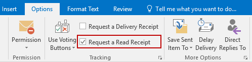 Requesting a Read Receipt for a message can be done on the Options tab.