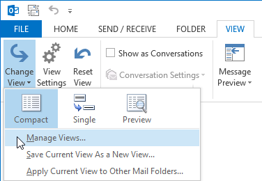 Opening the Manage All Views dialog in Outlook 2013.