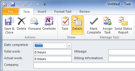 On the Details tab of a Task item, you can set additional info such as work time spent, mileage, billing information and the company.