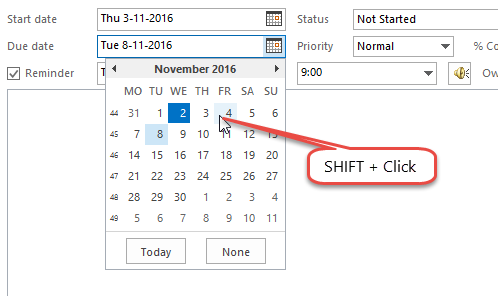Hold SHIFT in the Date Picker of the Due Date field to change the Start Date field without affecting the Due Date itself.