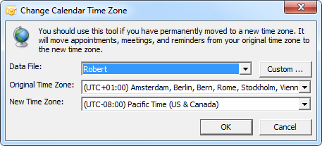 The Time Zone Data Update Tool can also be used if you permanently move to a different time zone.