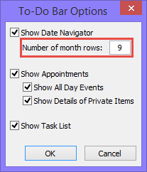 To-Do Bar options in Outlook 2010 - Number of month rows for Date Navigator