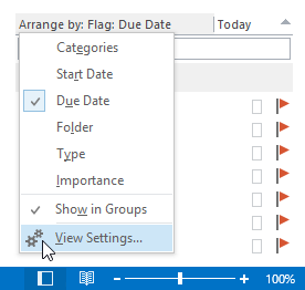 Opening the view settings for the To-Do List.