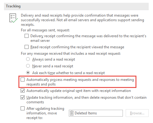 Tracking options - Automatically process meeting requests and responses to meeting requests and polls