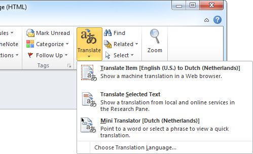 The Translate menu can be found on the Ribbon for a message which has been opened in its own window. Once enabled, the Mini Translator will remain active.