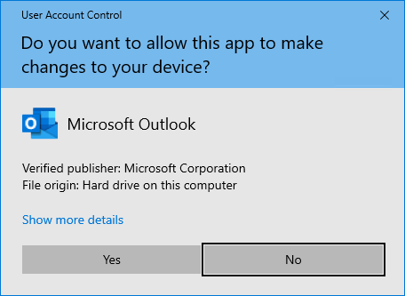 User Account Control - Outlook