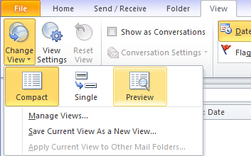 Outlook 2010: tab View-> button Change View-> Preview