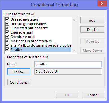 "Set the font for the sender name as large as the subject by creating a ""smaller"" conditional formatting rule."