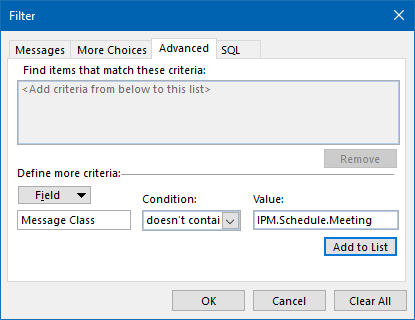 View Filter criteria to exclude Meeting Messages from your view.