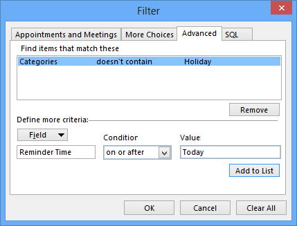 Reminder Time View Filter