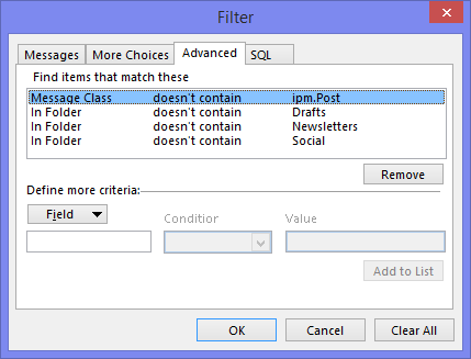 A View filter allows you to always exclude specific items from your Search Results.