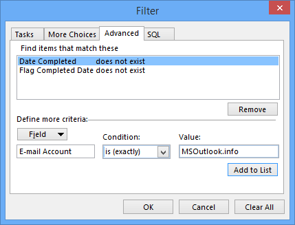 Adding a filter fot the To-Do List to show only tasks and flagged items from a specific account or mailbox.