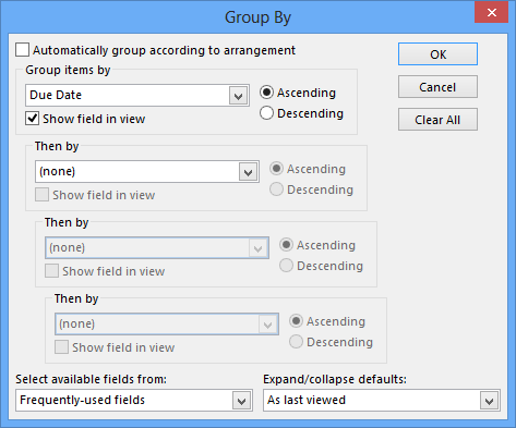 Tasks Folder - View Settings - Group By - Due Date
