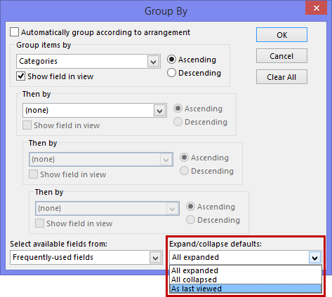 Changing the Expand/collapse defaults for the Group By function. The options are: All expanded, All collapsed and As last viewed.
