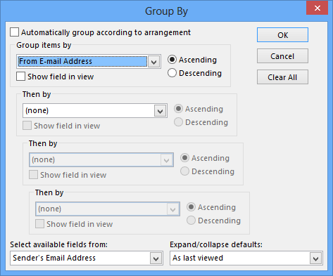 Grouping your emails by the e-mail address takes out the Display Name variable and results in a better sorting result.
