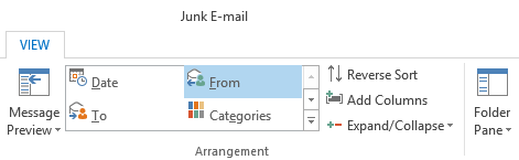 Arrange the Junk E-mail Folder by the From field to quickly identify and move all emails from a valid sender.